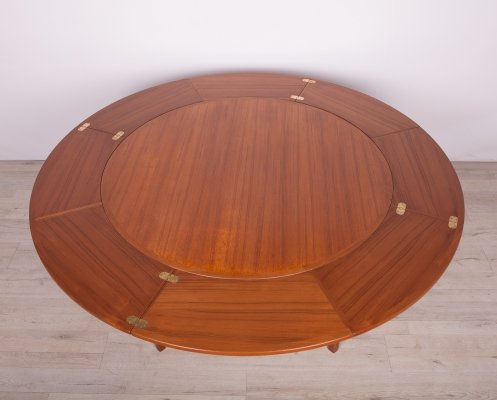 Round Extendable Teak Flip Flap Lotus Dining Table from Dyrlund, 1970s