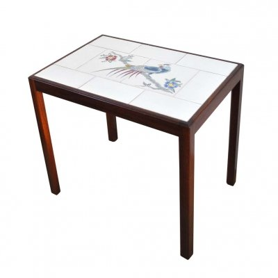 Danish mahogany side table with tiles Designed by Master cabinetmaker Jacob Kjær
