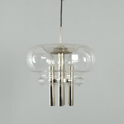 Clear glass & chrome Leclaire & Schäfer pendant lamp