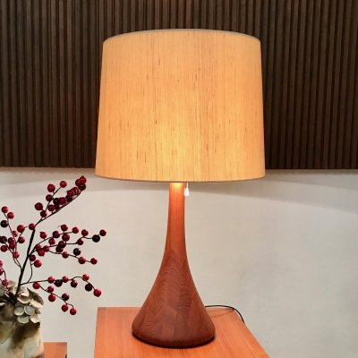Danish Solid Teak Table Lamp by Domus with Wild Silk Shade & Uplight, 1960s