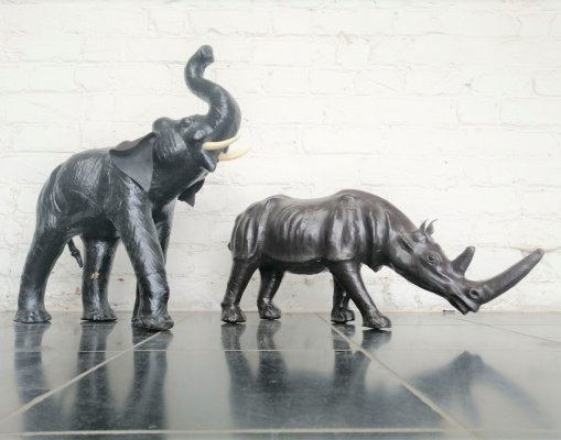 Set of leather elephant & rhino, 1970s