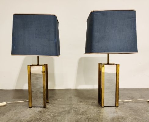 Pair of chrome & brass table lamps, 1970s