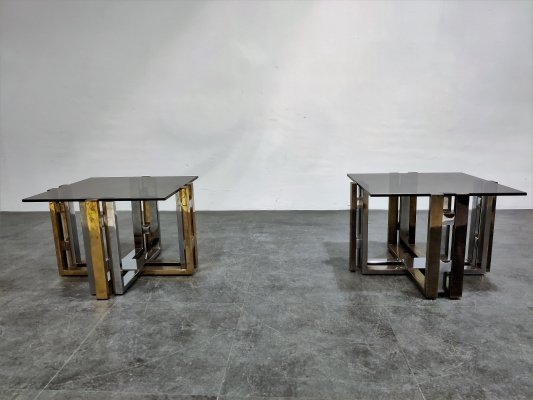 Pair of brass & chrome coffee table, 1970s