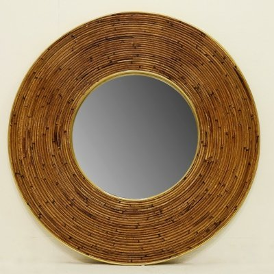 Large round mirror with wicker frame, 1950s