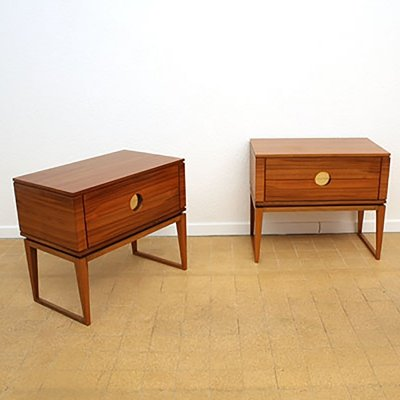 Set of bedside tables in brass & walnut, Italy 1960s