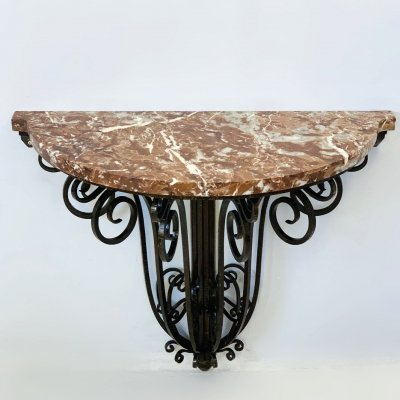1930's Wrought Iron Marble Top Console Table