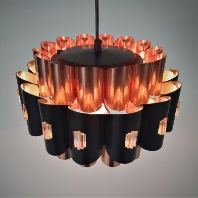 Danish Copper & Aluminum Pendant by Werner Schou for Coronell Elektro, 1970
