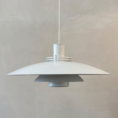 White hanging lamp by Top Lamper, Denmark 1970s