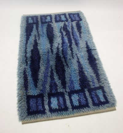 Dark blue Hand-knotted Swedish rug, 1960s