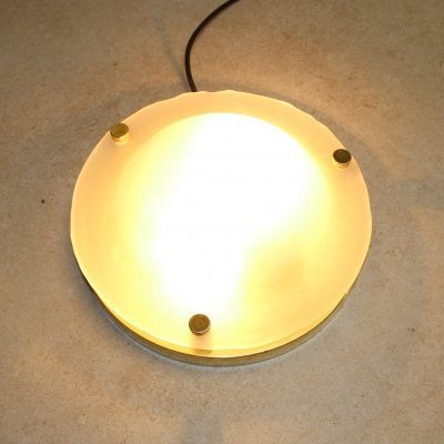 Vintage frosted glass ceiling lamp by Fischer Leuchten