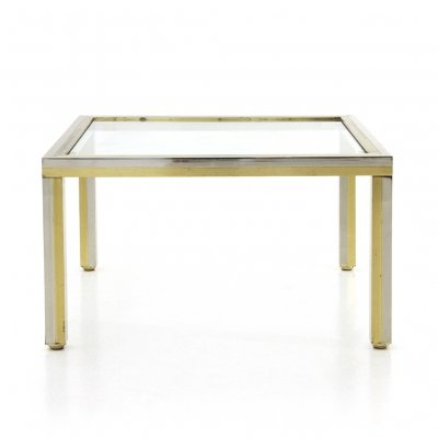 Coffee table in chromed metal, brass & glass, 1970s