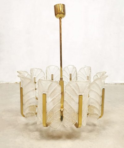 Midcentury design Murano glass leaves chandelier by Carl Fagerlund for Orrefors