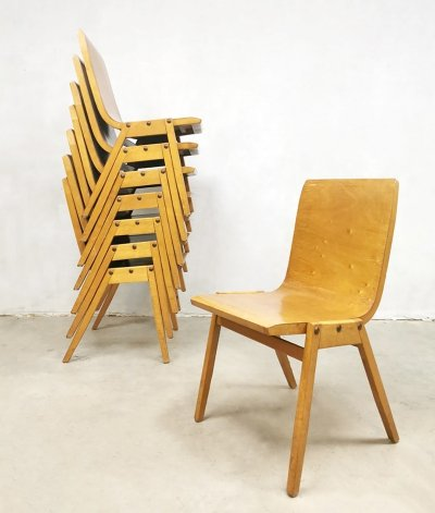 Vintage plywood stacking chair by Roland Rainer