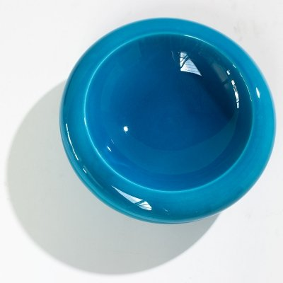 XL bright cyan blue ceramic bowl, Italy circa 1970