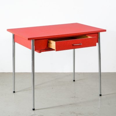 Retro kitchen table with red resin tabletop & drawer, 1960s