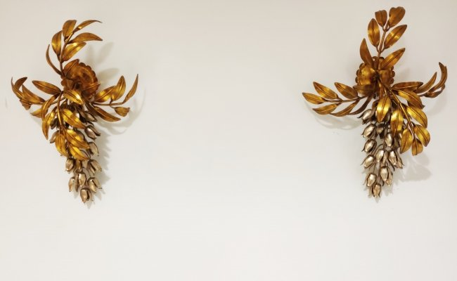 Vintage gilt metal flower wall lamps by Hans Kögl, 1960s