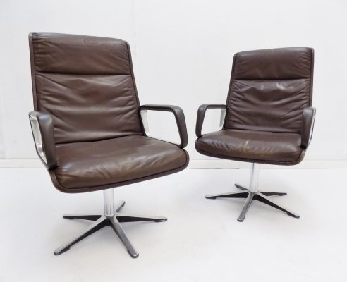 Wilkhahn Delta Highback set of 2 brown leather armchairs by Delta Design
