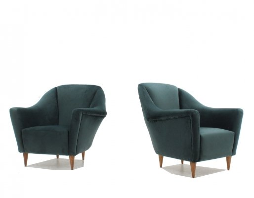 Pair of Ico Parisi velvet armchairs for Ariberto Colombo, 1950s