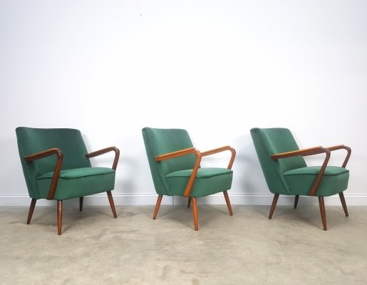 3 x Mid Century Cocktail Club Chair in Green Velvet, 1960