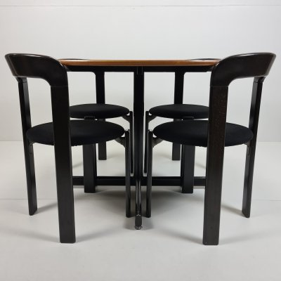Set of 4 'Rey' chairs & matching dining table by Bruno Rey for Kusch & Co, 1970s