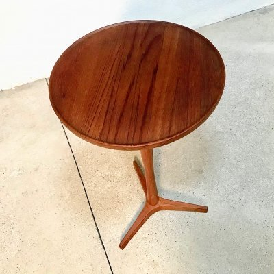 High Version Pedestal Teak Side or Drink Table by Hans Andersen for Artex, 1960s