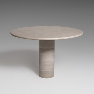 Round Travertine dining table with cylinder base