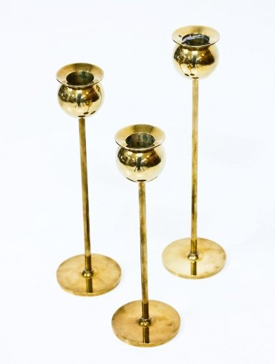 Set of 3 'Tulip' Candlesticks by Pierre Forssell for Skultuna