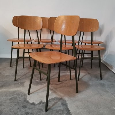 School chairs with green frame, 1970s