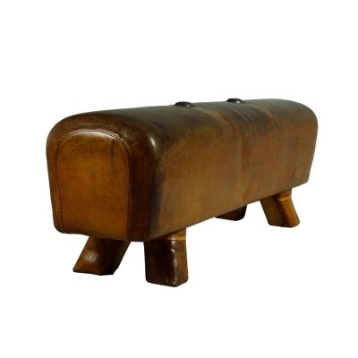 Vintage Leather Gym Pommel Horse Bench
