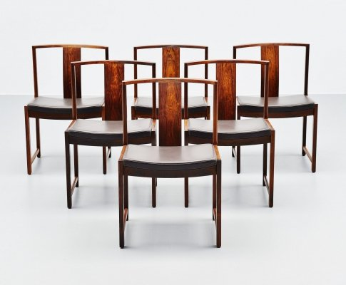 Set of 6 Rosewood dining chairs, Denmark 1960