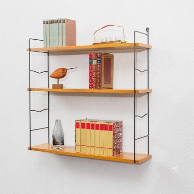 Classic mid century 1960s wall shelf in ashwood