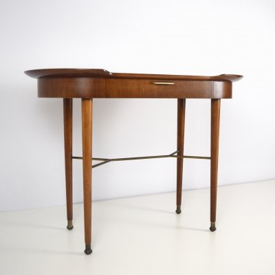 Sidetable in Wood & Brass, The Netherlands 1960s