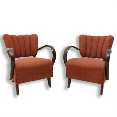 Pair of H-237 cocktail armchairs by Jindrich Halabala, Czechoslovakia 1950s