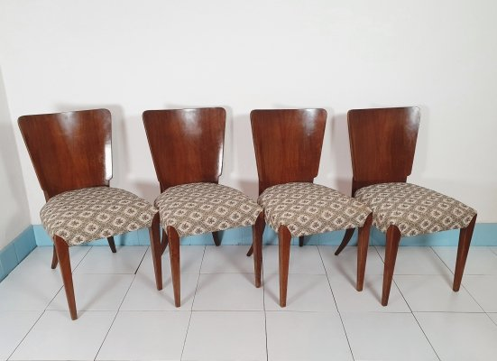 Set of 4 Halabala H-214 dining chairs, 1950s