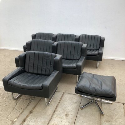Black leather lounge group by Asko Export, Finland 1970s