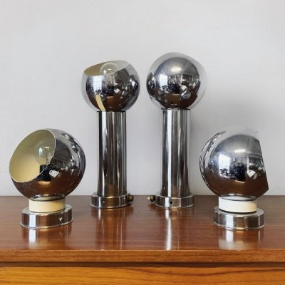 Set of 4 space age wall lights by Reggiani, 1970s