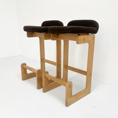Pair of oak barstools, 1980s