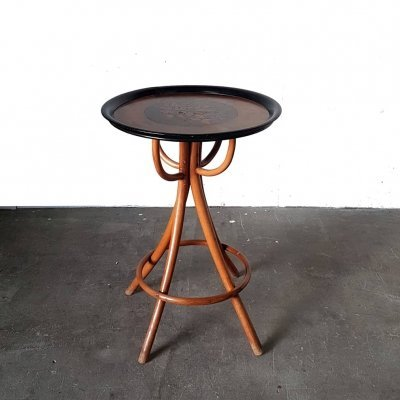 1930s bentwood side table with inlayed veneer top