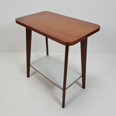 Teak & formica side table with tapered legs, 1950s