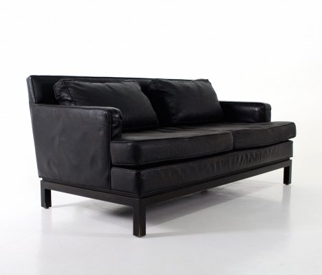 Black leather sofa by Edward J. Wormley for Dunbar, 1970's