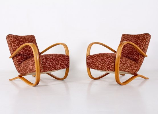 Pair of beech & fabric armchairs by Jindrich Halabala, 1950's
