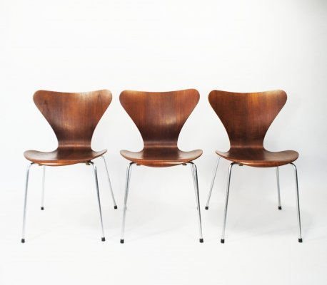 3 x Series 7 / Butterfly dining chair by Arne Jacobsen for Fritz Hansen, 1960s