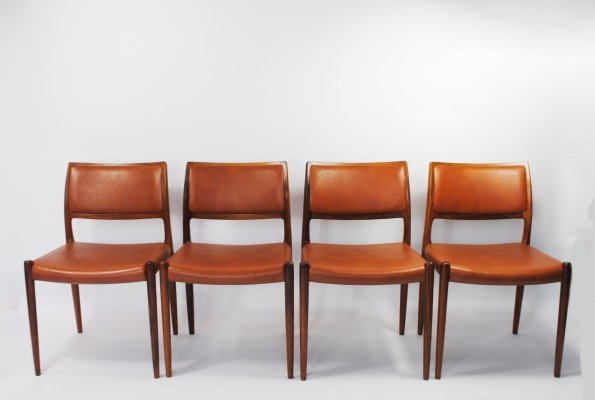 Set of 4 Model 80 dining chairs by Niels O. Møller for JL Møllers Møbelfabrik, 1960s