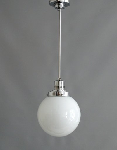 Bauhaus ball lamp made of opal glass with chrome-plated suspension, 1930s