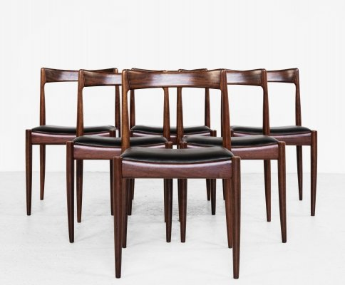 Midcentury set of 6 dining chairs by Oswald Vermaercke for V-form, 1960s