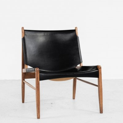 Midcentury lounge chair in oak & leather by Franz Xaver Lutz for WK Möbel, 1950