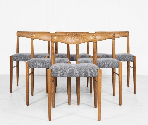 Midcentury Danish set of 6 dining chairs in oak by HW Klein for Bramin, 1960s