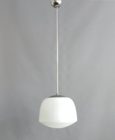 Bauhaus Pendant lamp with stepped opal glass shade, 1930s