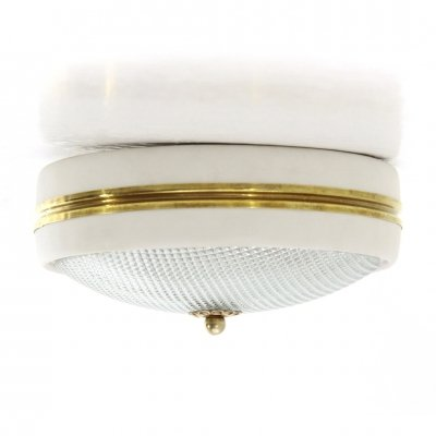 Molded glass & brass ceiling lamp, 1940s
