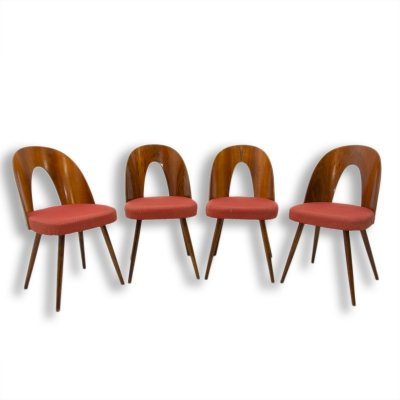 Set of 4 Mid century walnut dining chairs by Antonín Šuman for Tatra Nábytok, Czechoslovakia 1960s